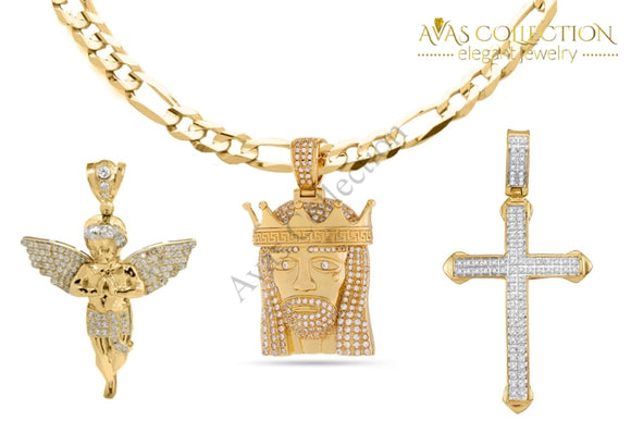 18K Gold Plated Religious Cross Set - Fiagro Necklace + 3 Pendants