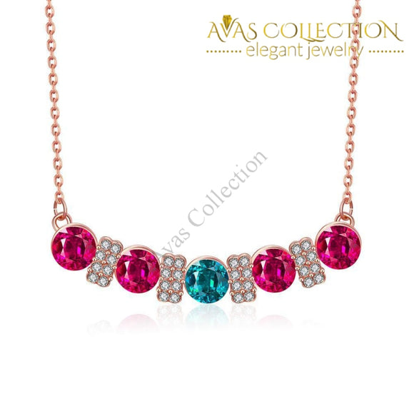 18K Rose Gold Plated Multi-Gem Bar Necklace
