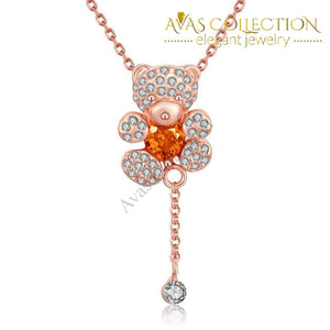 18K Rose Gold Plated Teddy Bearnecklace