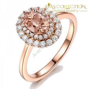 925 Silver&Rose Gold Fill Oval Champagne Ring - Avas Collection