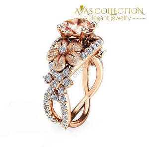 Gp Rose Gold Champagne Flowers Ring Rings