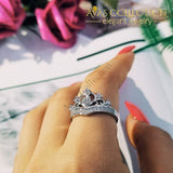 Solid 925 Sterling Silver Ring Finger Crown Princess Promise Ring - Avas Collection