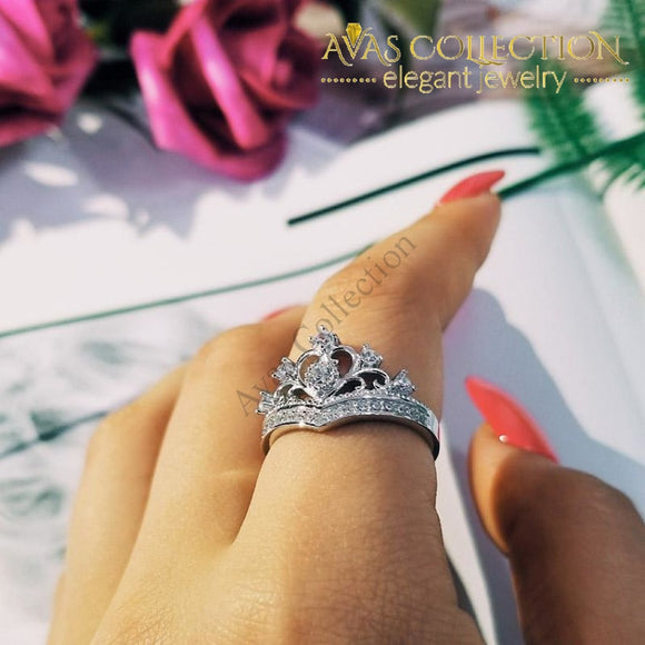 Solid 925 Sterling Silver Ring Finger Crown Princess Promise Rings