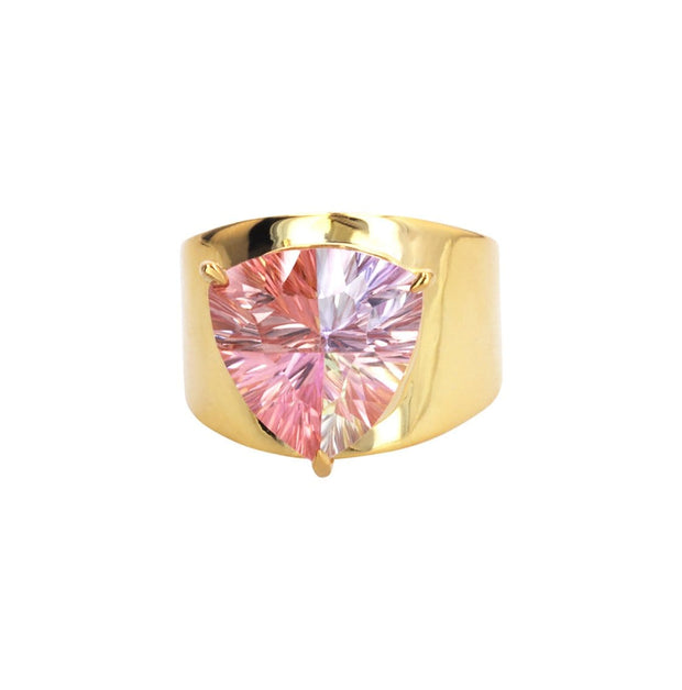 Adore Adorn 6 Lilly Ring 14 Gold Plated with Light Pink Mystic Topaz
