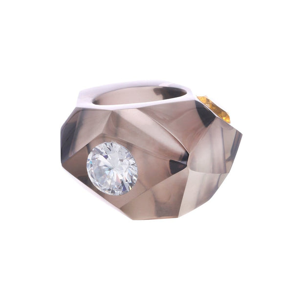 Adore Adorn 8 Crystal Cut Smokey Topaz with White CZ and Citrine