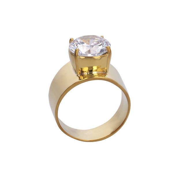 Adore Adorn 8 Lilly Ring 14k Gold with White CZ