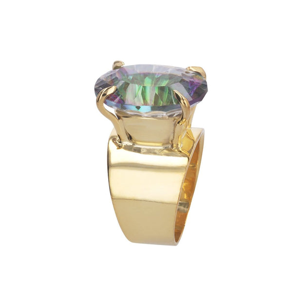 Adore Adorn 9 Lilly Ring 14K Gold Plated with Large Mystic Topaz