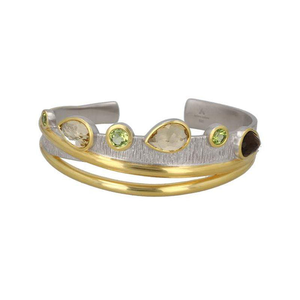 Dusk Cocktail Cuff Bracelet in White Rhodium + 14K Gold