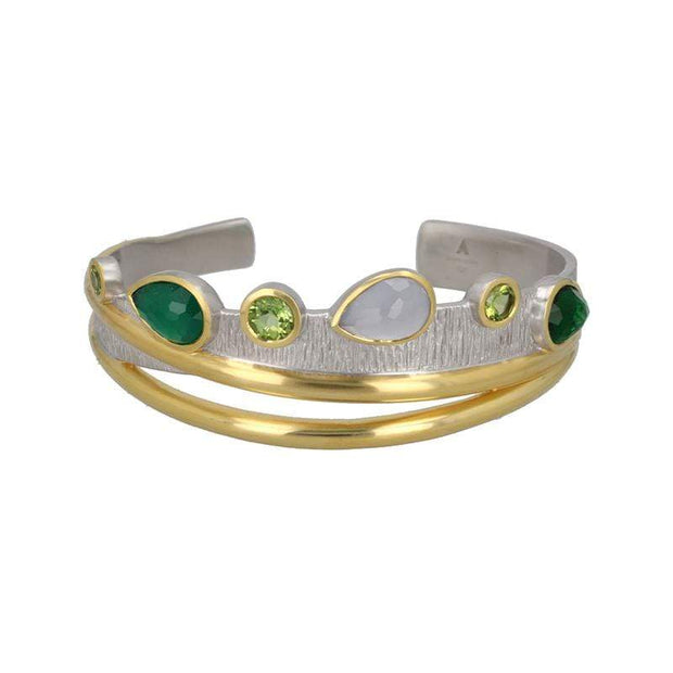 Indulgent Cocktail Cuff Bracelet in White Rhodium + 14K Gold