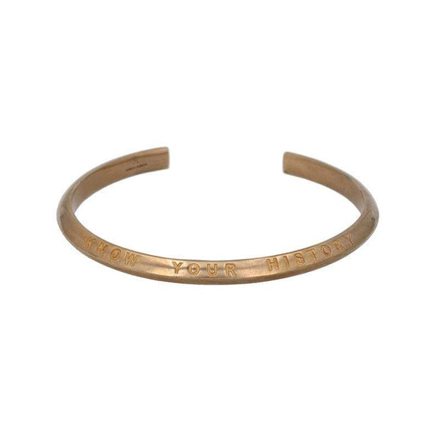 Know Your History Cuff with Tiger Eye in Brass