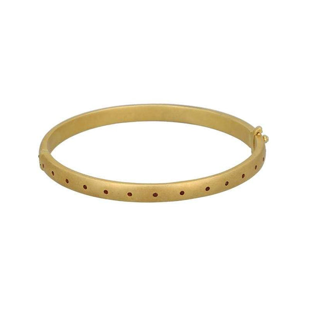 Sophie Round Bangle with Red Garnet in 14K Gold Matte