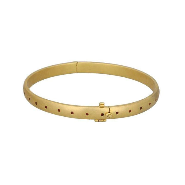 Adore Adorn Bracelet Sophie Round Bangle - Red Garnet / Gold