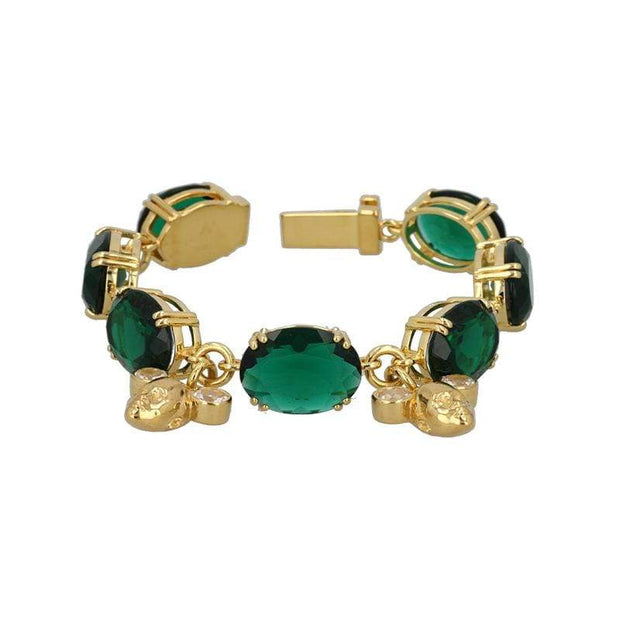 Twins Charm Bracelet with Green + White Quartz in Gold