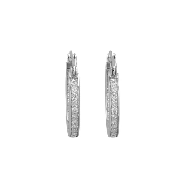 Adore Adorn Earrings 14mm Lucky Hoop in Rhodium
