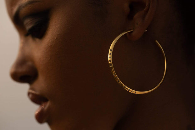 "Adore Adorn Earrings 2.25"" Dream Beautiful Hoop Earrings + Gold"