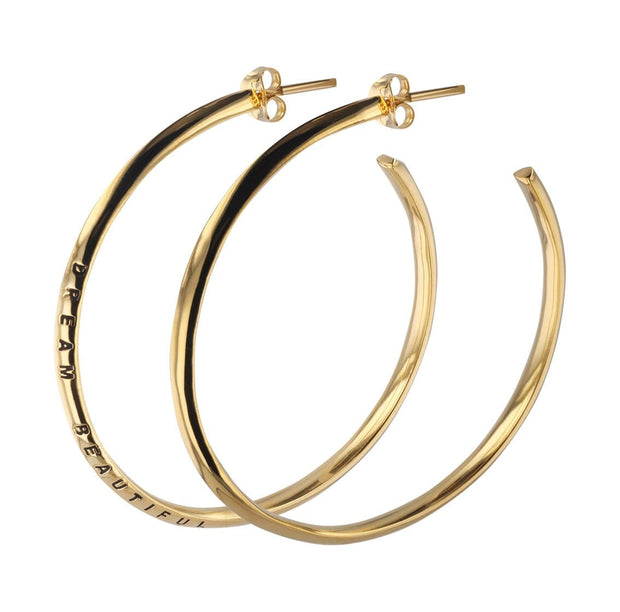 Dream Beautiful Hoop Earrings + Gold