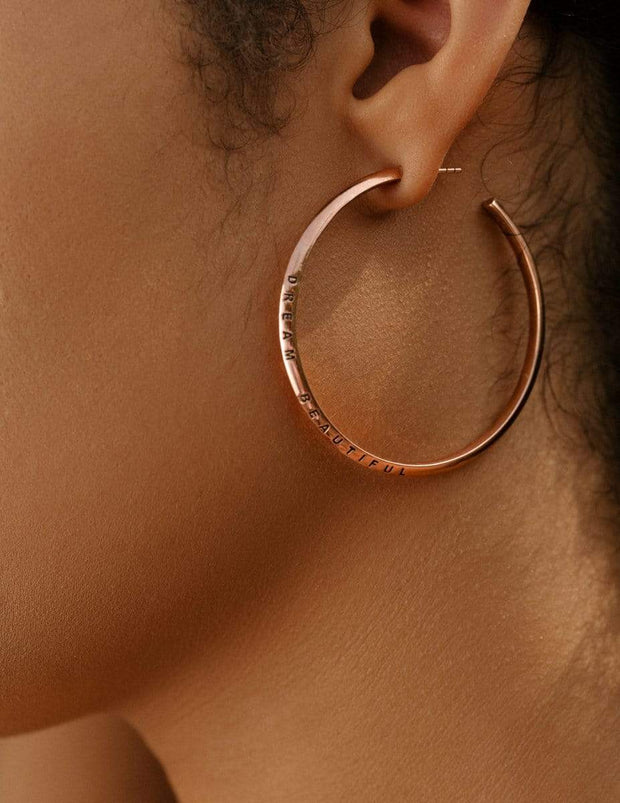 "Adore Adorn Earrings 2.25"" Dream Beautiful Hoop Earrings in Rose Gold"