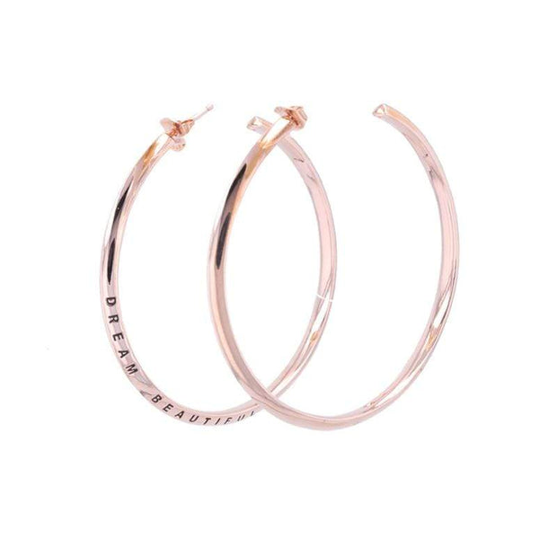 "Adore Adorn Earrings 2.25"" Dream Beautiful Hoop Earrings + Rose Gold"