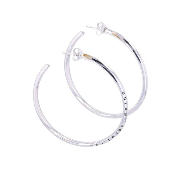 "Adore Adorn Earrings 2.25"" Dream Beautiful Hoop Earrings + Silver"