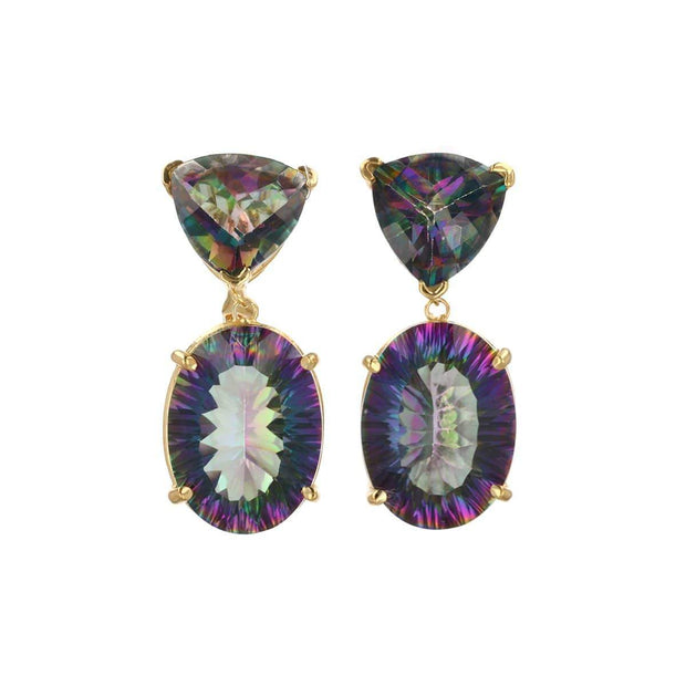 2-Drop Mystical Earring with Mystic Topaz in 14K Gold