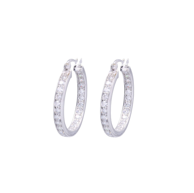 Adore Adorn Earrings 20mm Lucky Rhodium Hoop (Nickel Size)