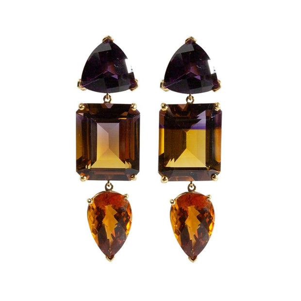 3-Drop Ametrine Gemstone Earring