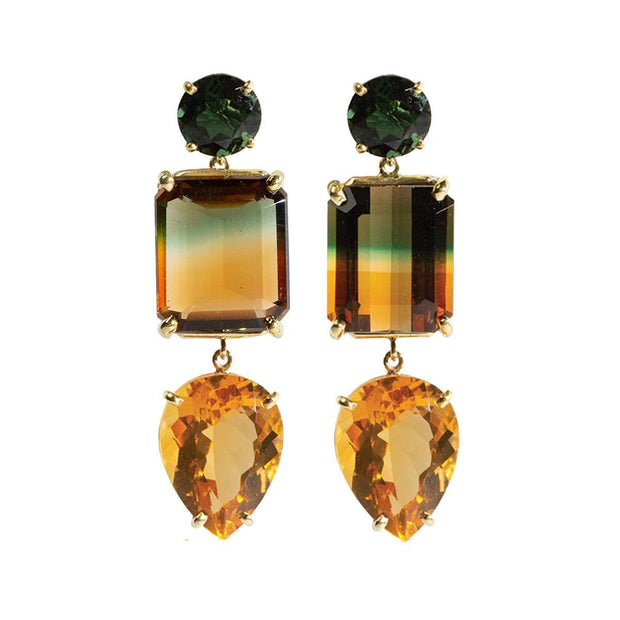 Adore Adorn Earrings 3-Drop Citrine Bi-Color Gemstone Earring