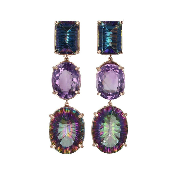 3-Drop  Mystical  Earring with Pink + Mystic Topaz