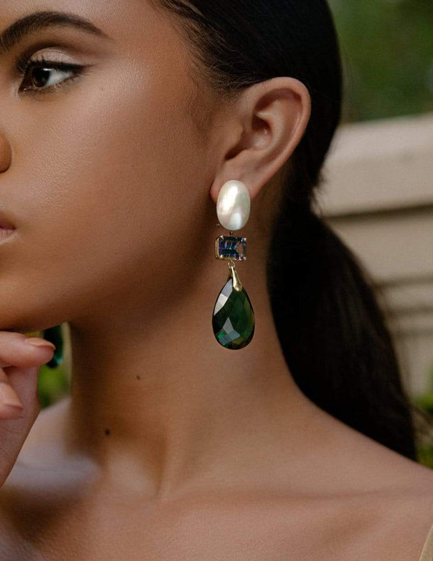 Adore Adorn Earrings 3-Stone Drop Earring with Mother of Pearl + Green Quartz + Mystic Topaz in 14K Gold