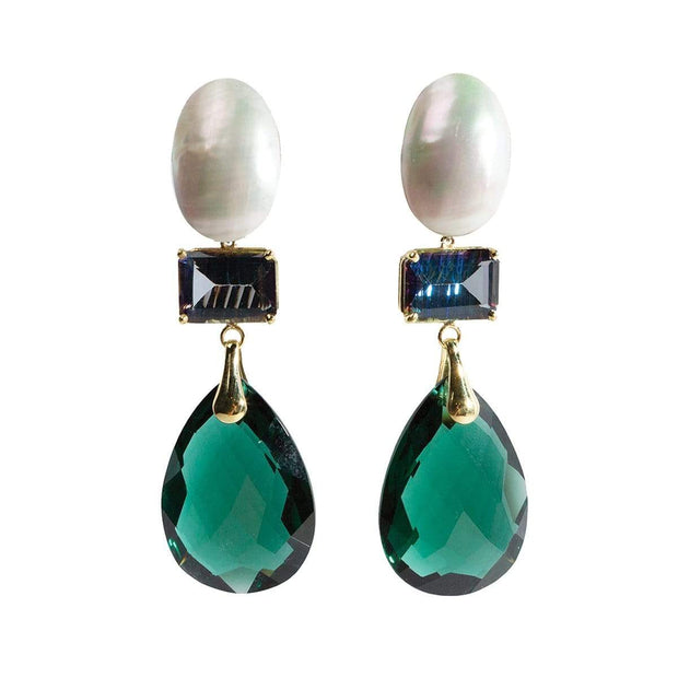 Adore Adorn Earrings 3-Stone Pearl + Gem Drop Earring