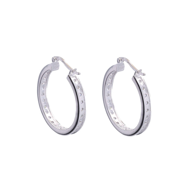 Adore Adorn Earrings 30mm Lucky Rhodium Hoop