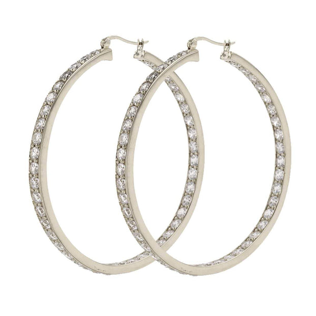 Adore Adorn Earrings 50mm Lucky Rhodium Hoop
