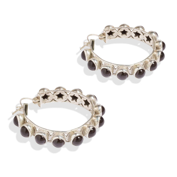 Adore Adorn Earrings Shari Hoop Earrings - Silver Black Onyx