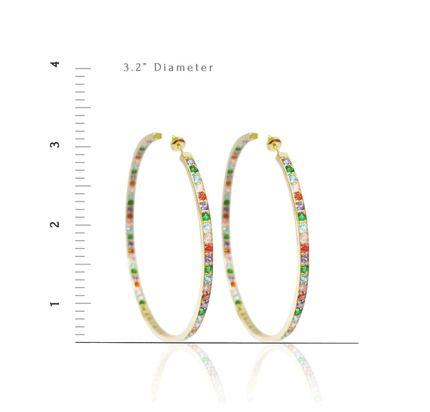 Adore Adorn Earrings Clear Quartz 80mm Lucky Hoops in White Rhodium