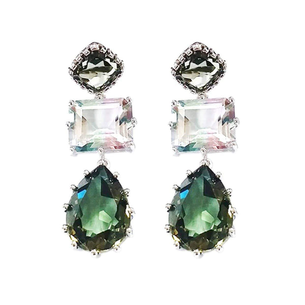 Adore Adorn Earrings Dawn 3 Drop Gemstone Earrings