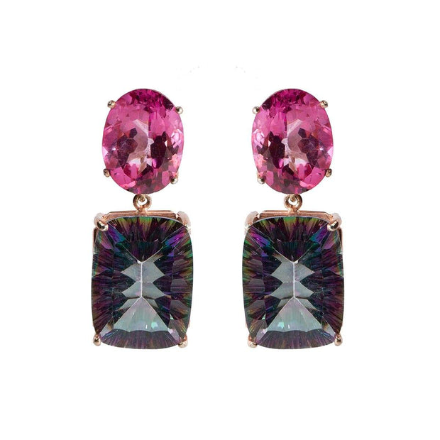 Adore Adorn Earrings Double Gemstone Topaz Dangle Earring
