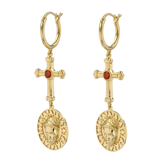 Adore Adorn Earrings FACES Earrings - 14K Gold / Red Garnet