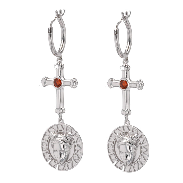 Adore Adorn Earrings FACES Earrings - Rhodium / Red Garnet