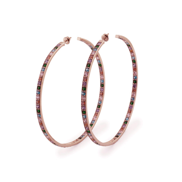 "Adore Adorn Earrings Hoop Earrings Rose Gold / Multi-colored Gemstones + ""Lilly"" Ring  Rose Gold / Mystic Topaz"