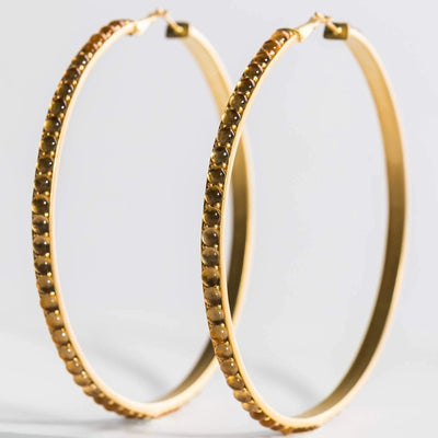 Adore Adorn Earrings Mimi Hoops - Gold + Citrine Cabochon