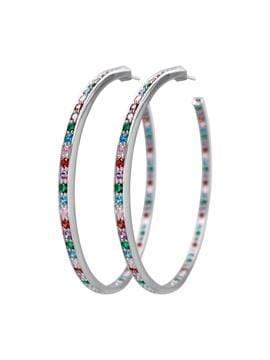 Adore Adorn Earrings Multi-Color 80mm Lucky Hoops in White Rhodium