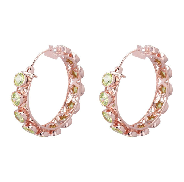 Adore Adorn Earrings Peridot Shari Hoop Earrings in Rose Gold with Peridot