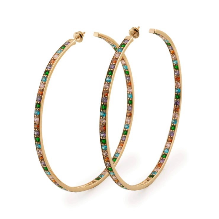 Adore Adorn Earrings Rose Gold + Multi-Colored Crystals Hoops - Gold, Silver, Rose Gold