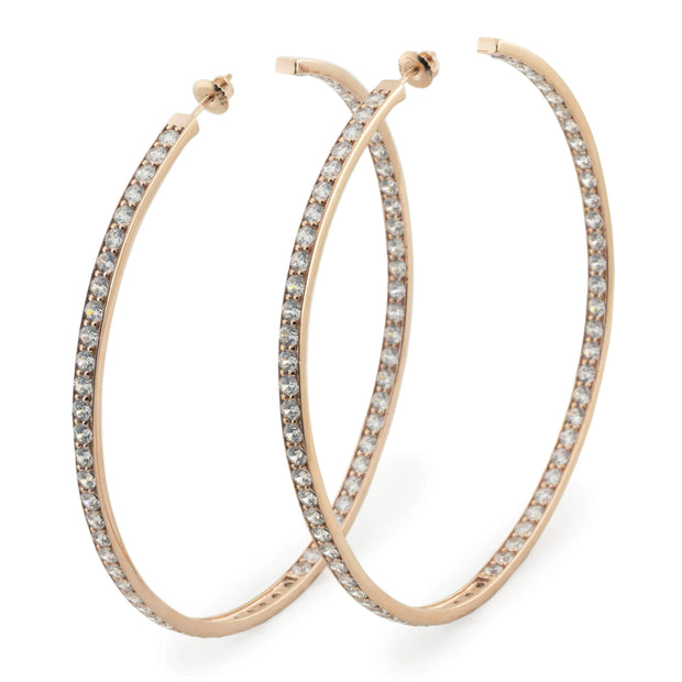 Adore Adorn Earrings Rose Gold w/ White Crystals Hoops - Gold, Silver, Rose Gold