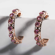 Adore Adorn Earrings Shari 3/4 Hoop Earrings - Rose Gold / Pink Sapphire