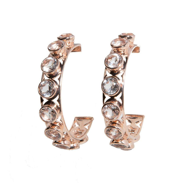 Adore Adorn Earrings Shari 3/4 Hoop Earrings - White Quartz / Rose Gold