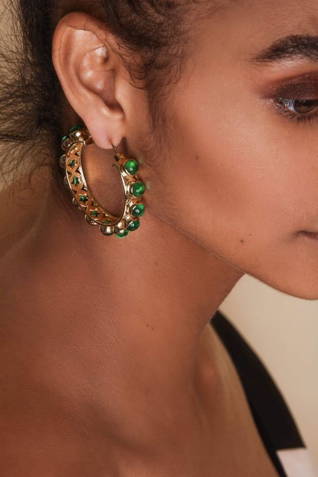 Adore Adorn Earrings Shari Earrings (Aged Gold/Emerald)
