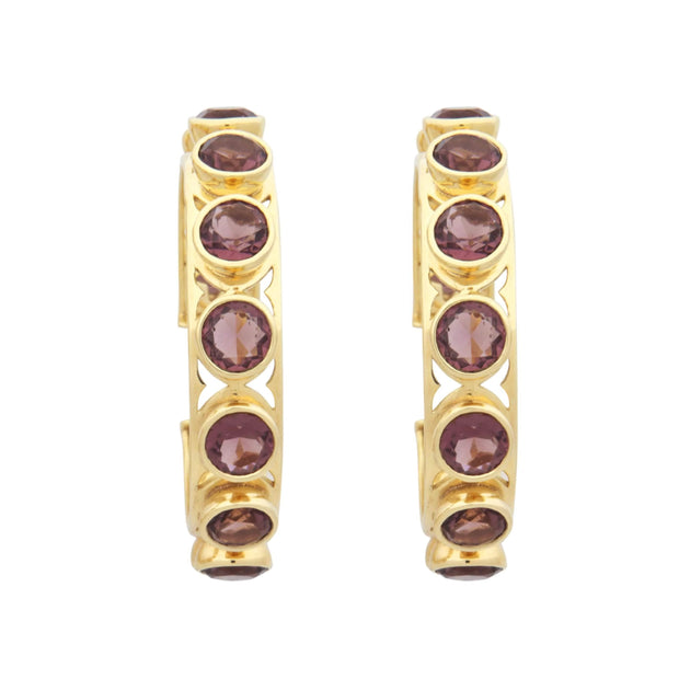 Adore Adorn Earrings Shari Hoop Earrings - Brown Garnet + Gold