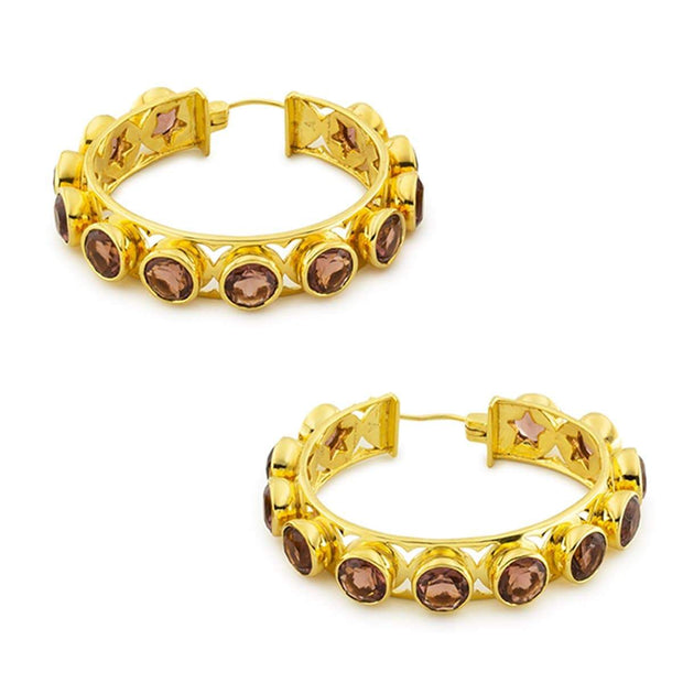 Adore Adorn Earrings Shari Hoop Earrings - Gold + Brown Garnet