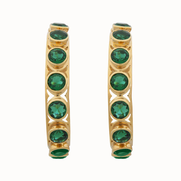 Adore Adorn Earrings Shari Hoop Earrings - Green Quartz + Gold